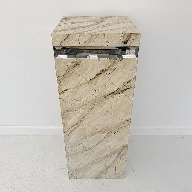 Mid-Century Modern 1970s Vintage Faux Marble Pedestal For Sale - Image 3 of 10