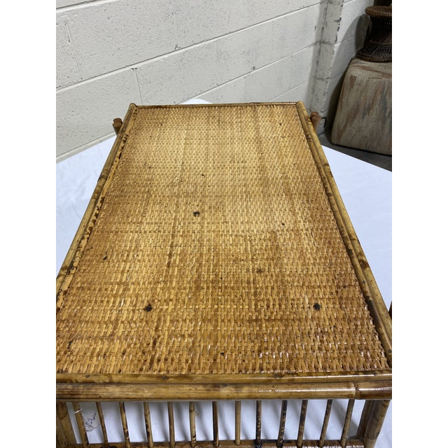 """Wood Vintage Burnt Bamboo """"Breakfast"""" Tray Stand For Sale - Image 7 of 12"""
