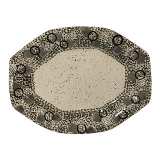Late 20th Century A. Mallory Modern Black and White Geometric Serving Platter For Sale