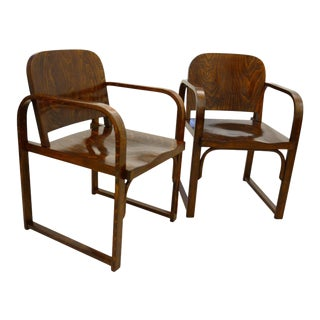 Czech beech & bentwood armchair from Tatra For Sale
