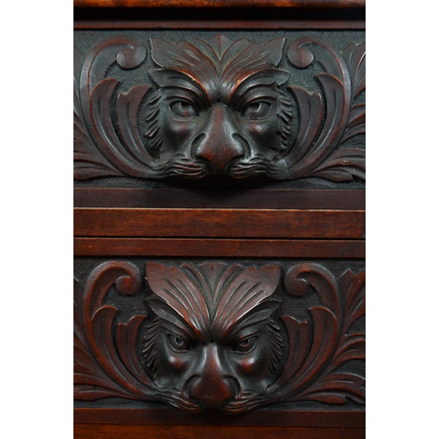 Late 18th Century R. J. Horner C.1890's Carved Mahogany Drop Desk For Sale - Image 5 of 10