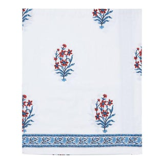 Nargis Queen Bed Orange & Blue Fitted Sheet For Sale