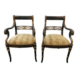 Late 20th Century Empire Style Accent Chairs - a Pair For Sale