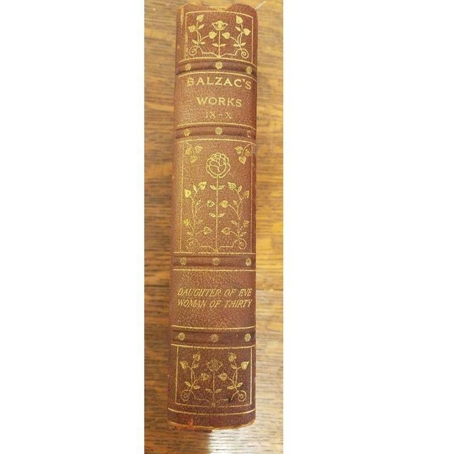 "Paper 11 Volume Vintage ""Balzac's Works"" Leather Books For Sale - Image 7 of 10"