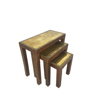 1930s Rustic Leather Wrapped Nesting Tables - Set of 3 For Sale
