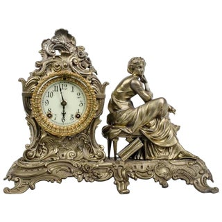 19th Century Ansonia Clock Company Mantel Clock Bronze Gilt Statue For Sale