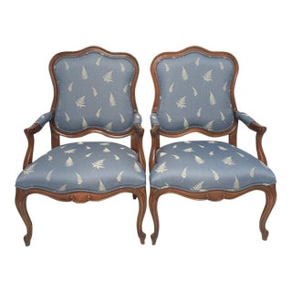 Louis XV Style Upholstered Fruitwood Fauteil Chairs – a Pair For Sale
