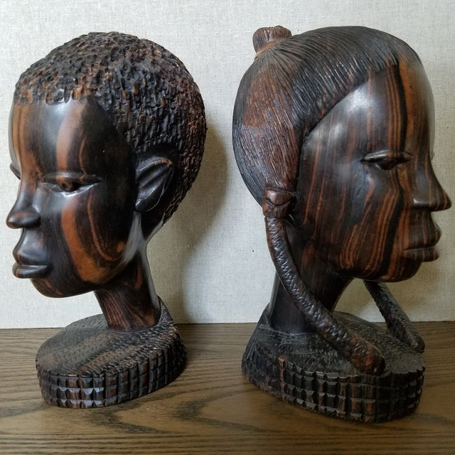 Wood African Zebra Wood Male & Female Busts, a Pair For Sale - Image 7 of 9