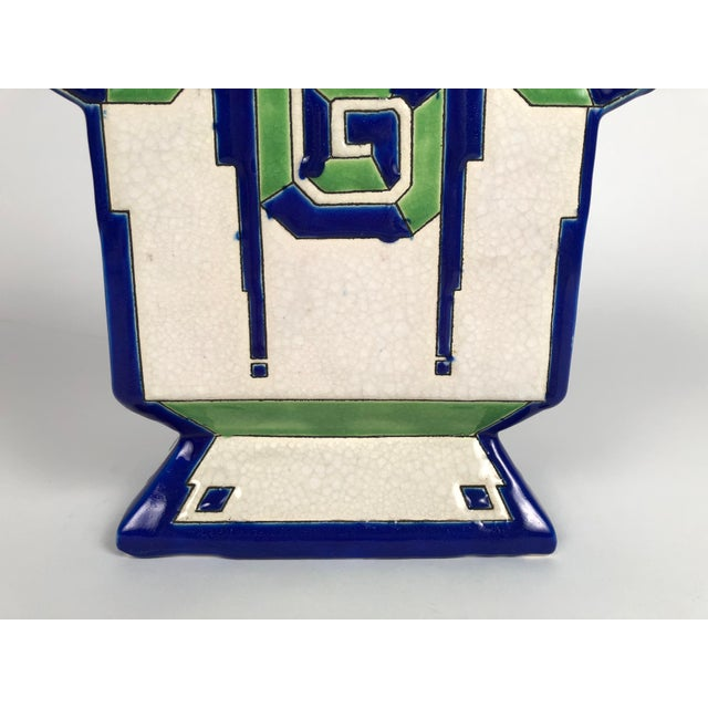 Art Deco Geometric Ceramic Vase by Boch Freres For Sale In Boston - Image 6 of 9