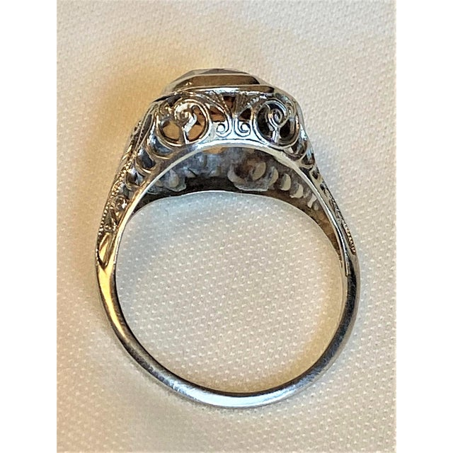 Metal Antique 18k White Gold and Citrine Ring For Sale - Image 7 of 10