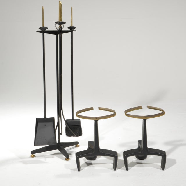 """Donald Deskey fireplace andirons and tool set made by Bennet Co. Andirons measurements 13"""" tall 7"""" deep, 9"""" wide Tool set..."""