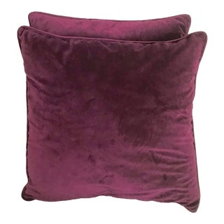 Italian Velvet Plum Violet Color Pillows With Matching Piping - a Pair For Sale