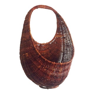 Vintage Large Oval Woven Wall Pocket Basket For Sale