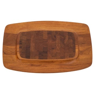Jens Quistgaard Danish Modern Teak & Rosewood Parquet Appetizer Cheese Tray For Sale