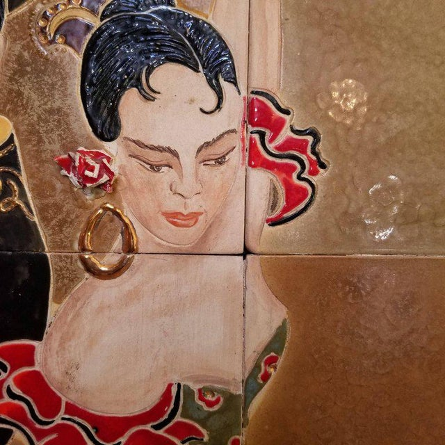 Wood 1955 Tango Dancers Wall Tile For Sale - Image 7 of 11