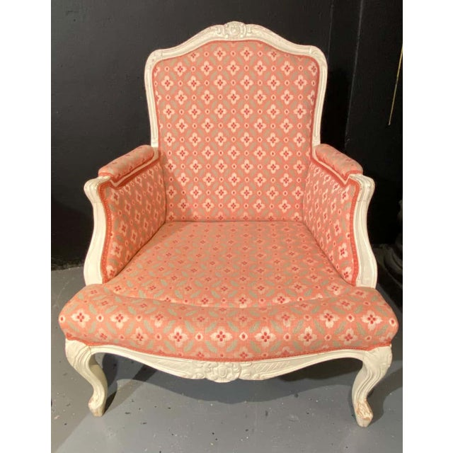 Louis XVI Painted Bergère or Lounge Chairs, Scalamandre Upholstery - a Pair For Sale - Image 10 of 13