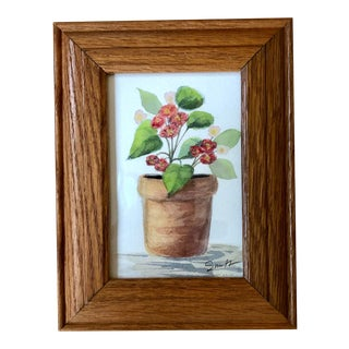 "Nancy Smith Original Framed Watercolor Botanical ""Potted Begonia"" Painting For Sale"