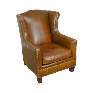 """Henredon Brown Distressed Leather """"Badin"""" Lounge Chair For Sale"""