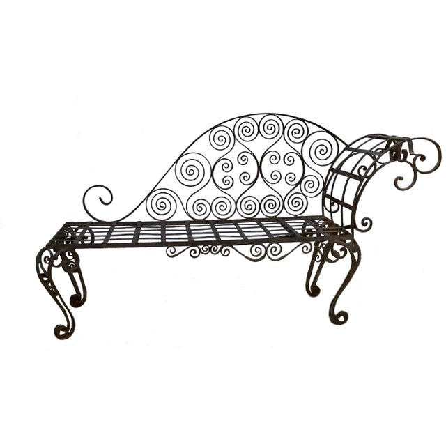 Lovely Antique French Hand Forged Wrought Iron Chaise For Sale In Los Angeles - Image 6 of 6