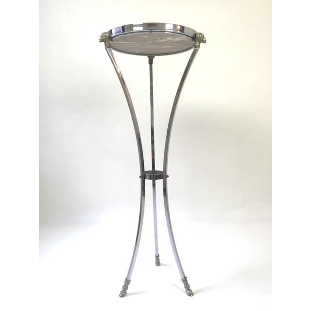 Italian Regency Steel & Marble Rams Head Pedestal - Image 8 of 8