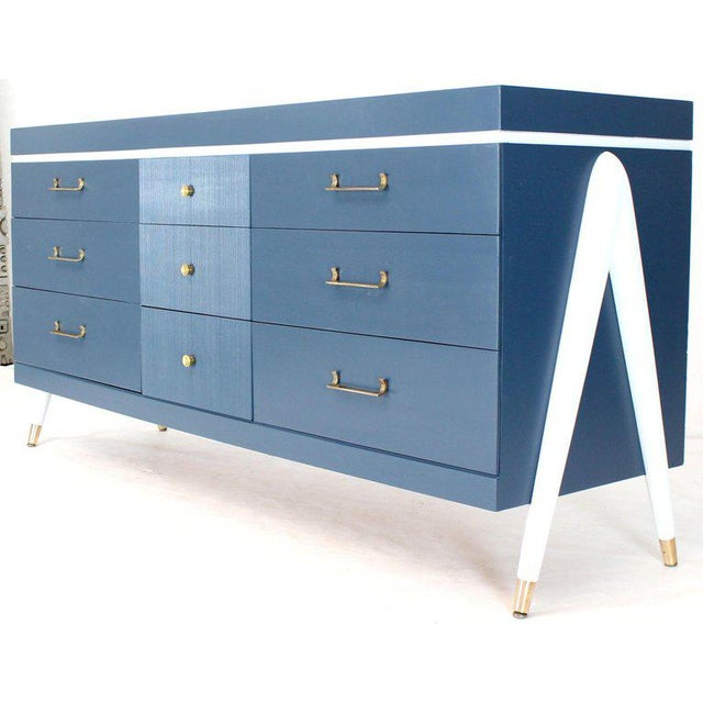 White and Blue Exposed Sculptural Compass Shape Legs Nine Drawers Dresser For Sale - Image 9 of 9