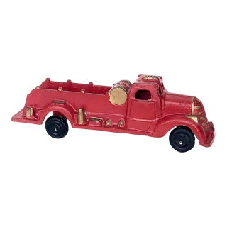 Vintage Cast Iron Fire Truck Toy For Sale
