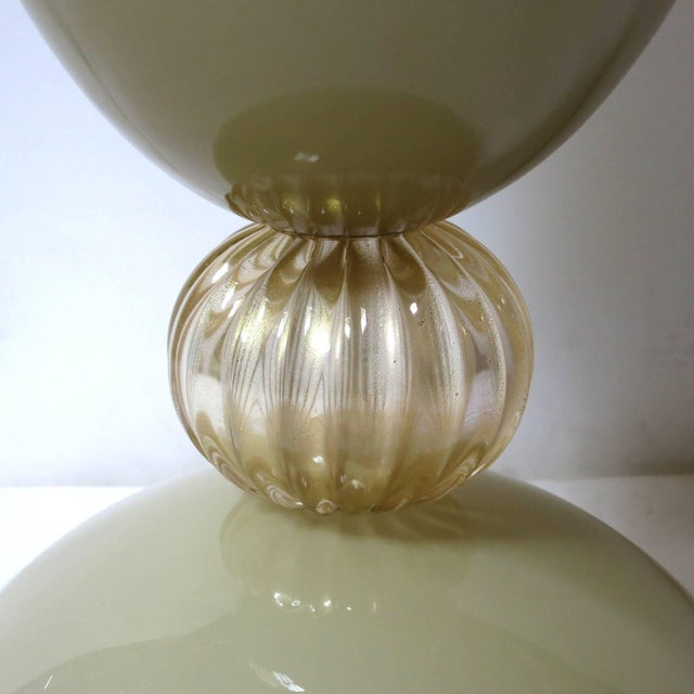 Mustard and Gold Infused Murano Glass Urn or Vase by Fabio Ltd (2 Available) For Sale In Palm Springs - Image 6 of 8