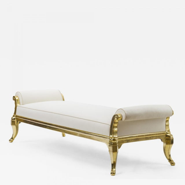 Paul Follot Spectacular Longest Gold Leaf Carved Wood Bench Covered in Silk For Sale - Image 9 of 9