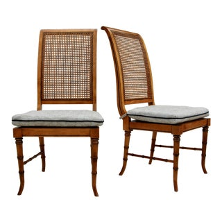 Faux Bamboo Caned Chairs, Pair