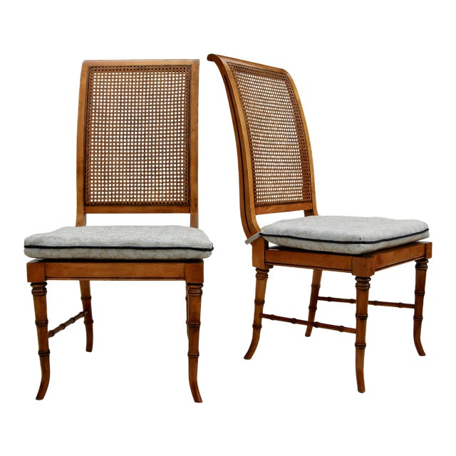 Faux Bamboo Caned Chairs, Pair For Sale