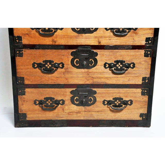 Japanese Two Piece Tansu Chest With Hand Forged Hardware For Sale - Image 12 of 13