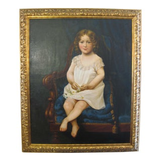 Antique Portrait of Young Girl With Daisies Painting For Sale