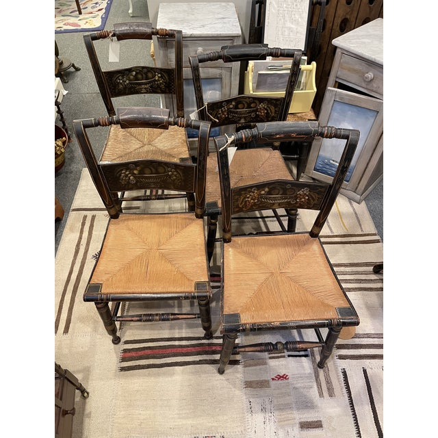 Late 19th Century Hitchcock Style Chairs - Set of 4 For Sale - Image 9 of 9