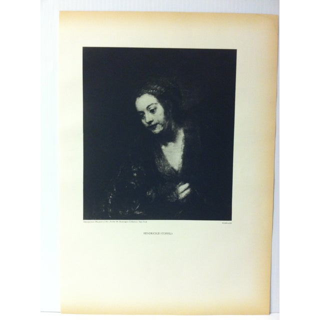 """This is a vintage black and white print on paper of a famous Rembrandt painting that is titled """"Hendrickje Stoffels"""". The..."""