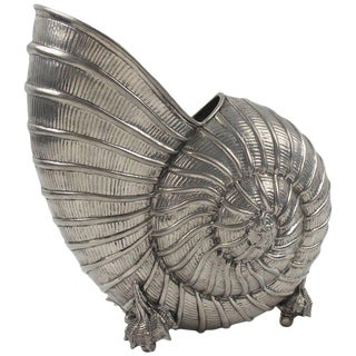 Mid Century Metal Plated Nautilus Shell Wine Cooler Bottle Holder For Sale