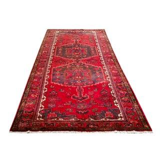 Vintage 10 Ft. Persian Heriz Karadja Hand Knotted Runner Rug - 4′6″ × 9′9″ - Size Cat. 5x8 6x9 For Sale