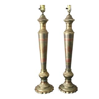Vintage Large Etched Brass with Red Table Lamps - a Pair For Sale