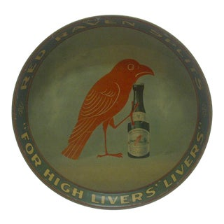 "Vintage ""Red Raven Splits"" Metal Serving Tray"