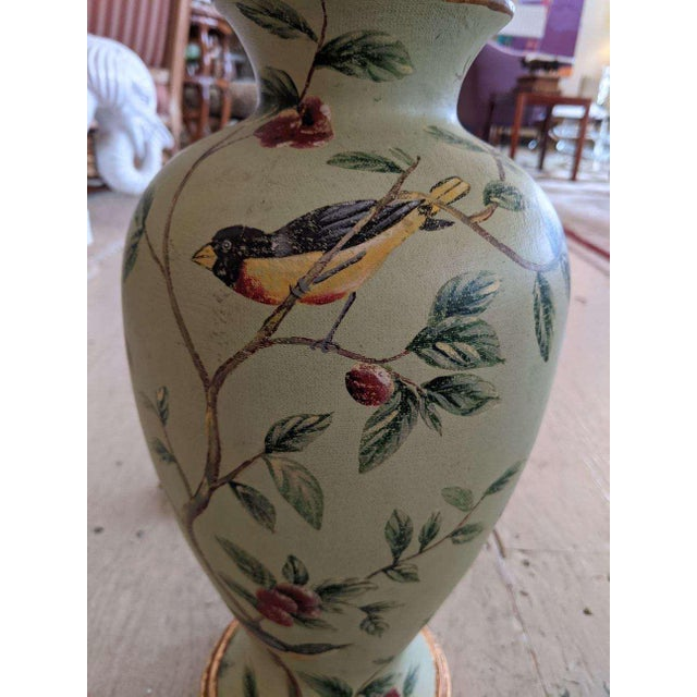 Bradburn Celadon Green Table Lamps With Birds and Foliage - a Pair For Sale In Philadelphia - Image 6 of 13