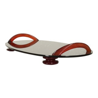 Modernist Oval Serving Tray in Smoke Glass With Red Ruby Glass Handles and Sabots Signed For Sale