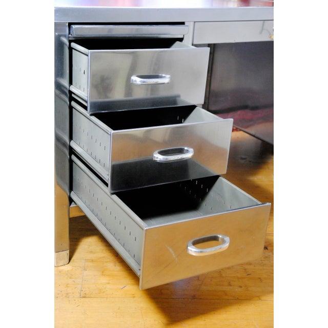 1940's ArtMetal Polished Steel Desk - Image 4 of 7