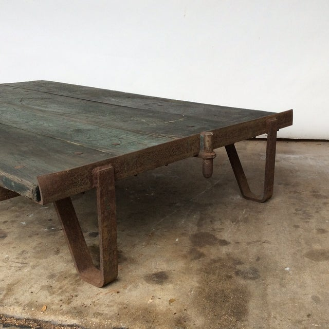 Vintage Railroad Cart Coffee Table For Sale - Image 5 of 9