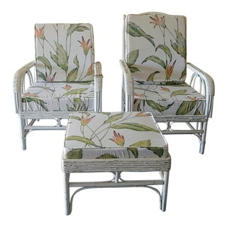1950s Vintage Rattan Lounge Chairs and Ottoman - Set of 3 For Sale