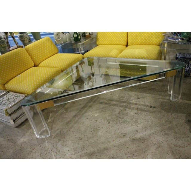 Transparent Charles Hollis Jones Lucite and Brass Triangle Coffee or Cocktail Table For Sale - Image 8 of 11