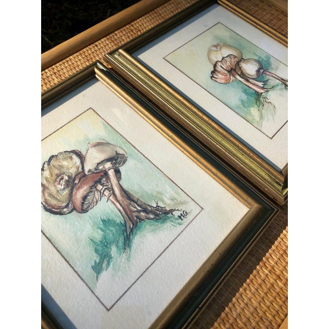 Great decorative duo! Original pair of hand-painted watercolors. Custom framed in green with metallic gold accents.