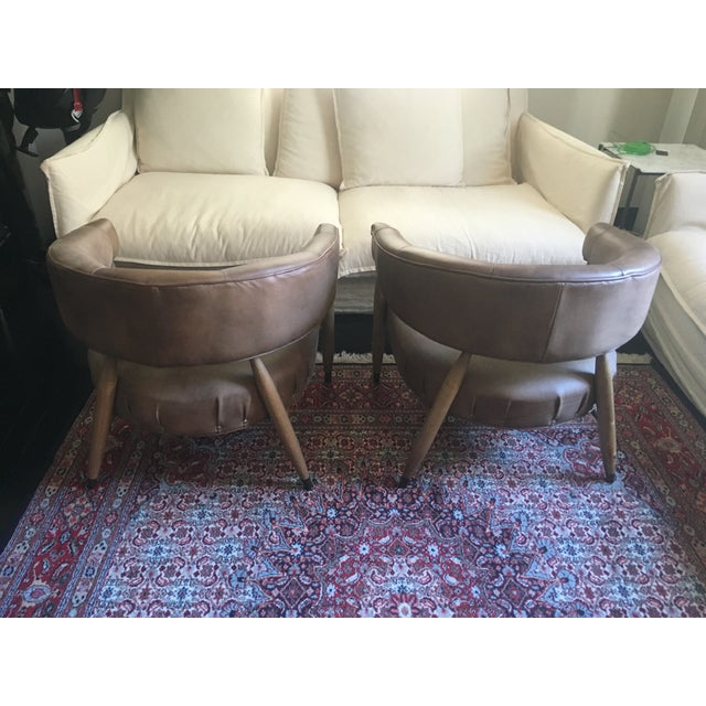 Animal Skin Restoration Hardware Leather Chairs - A Pair For Sale - Image 7 of 7