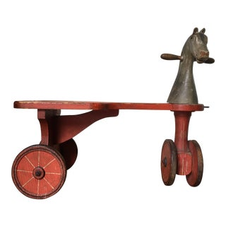 Antique Folk Art Horse Scooter/Pull Toy