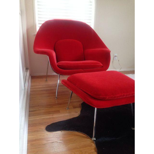 Saarinen Vintage Red Womb Chair & Ottoman - Image 3 of 4