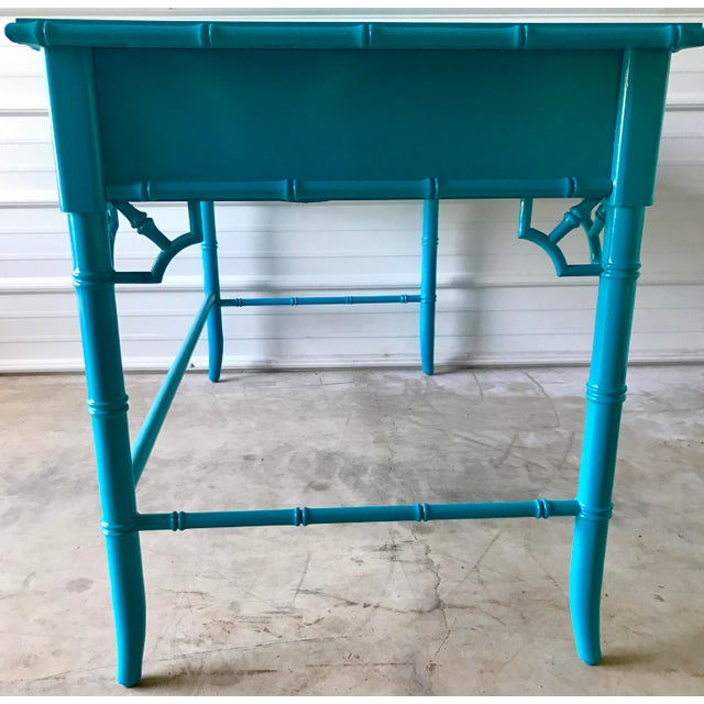 Blue Thomasville Lacquered Faux Bamboo Desk For Sale - Image 8 of 10