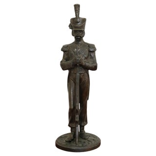 19th Century French Sculpture in Bronze Napoleonic Army Artillery Soldier Figure For Sale